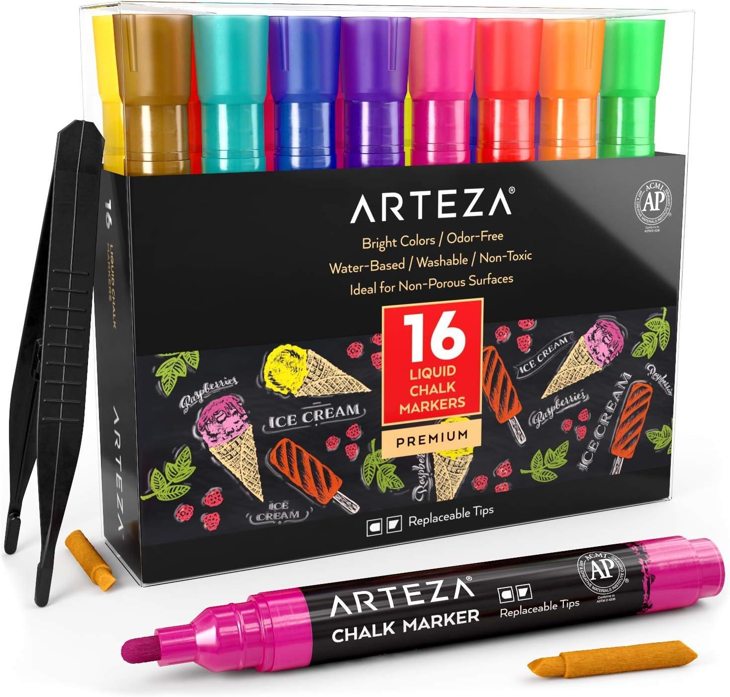 Arteza Rotuladores metalizados de tiza líquida | Set de 16 marcadores de tiza | 16 colores brillantes| Con pinzas + 50 etiquetas + 2 plantillas adhesivas | Rotuladores de tiza para cristal y pizarra: Amazon.es: Oficina y papelería