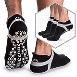 Muezna Men's Non-Slip Yoga Socks, Anti-Skid