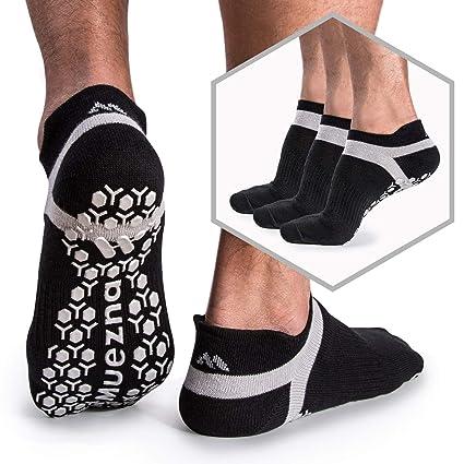 Muezna Calcetines de Yoga Anti-Deslizante para Hombre; Calcentines de Pilates, Barre, Ballet, Calcetines Bikram Fitness de Agarre Anti-Deslizante, ...