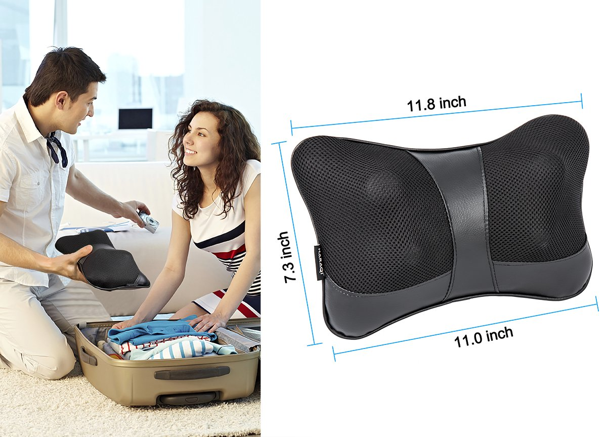Shiatsu Pillow Massage,Neck Pillow Massager,Deep Kneading Massage with Heat,Neck,Shoulder & Back Massager for Home/Car/Office/Travel