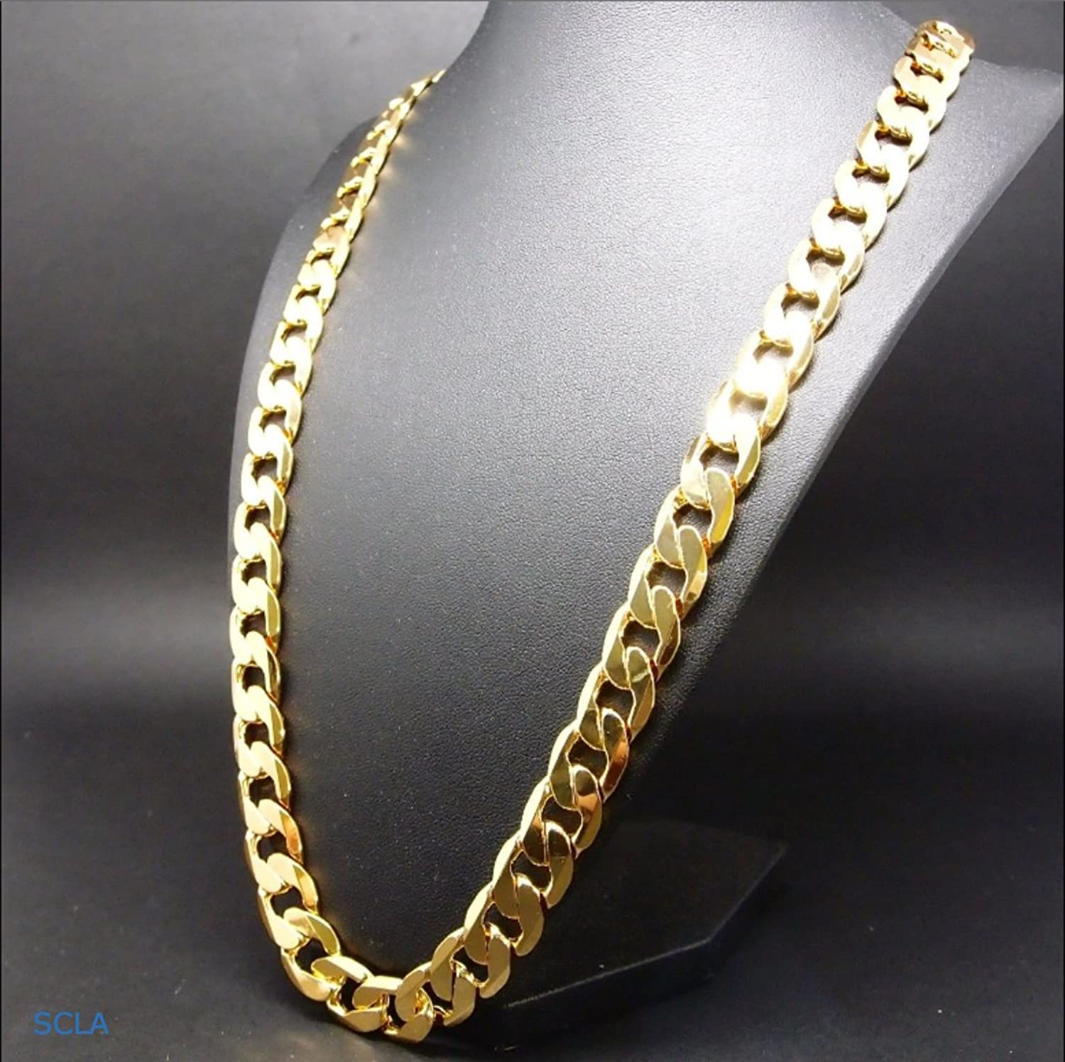 Gold chain necklace 9MM 24K Diamond cut Smooth Cuban Link with a