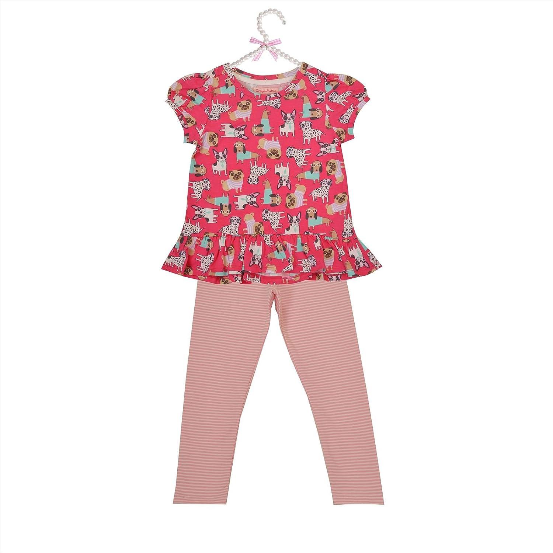 CrayonFlakes Kids Wear for Girls Cotton Pink Printed Night Suit SleepSuit Set
