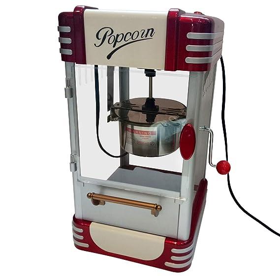 Jago Retro Máquina de Palomitas | 60L/h, 200g/10min, Olla de Acero Inoxidable, para Las Palomitas de maíz Dulces y saladas | diseño de los años 50, ...