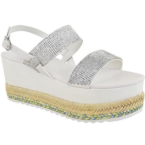 Fashion Thirsty heelberry Mujer Plataforma Plana Plataforma Pedrería Brillante Sandalias Alpargatas Cordones Talla: Amazon.es: Zapatos y complementos