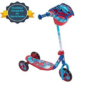 Huffy Kids Preschool Scooter for Boys Disney Pixar Cars & Toy Story, Star Wars, Marvel Spider-Man, 3 Wheel Toy