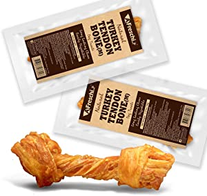 AFreschi Turkey Tendon for Dogs, Premium All-Natural, Hypoallergenic, Long-Lasting Dog Chew Treat, Easy to Digest, Alternative to Rawhide, Ingredient Sourced from USA, (Medium)