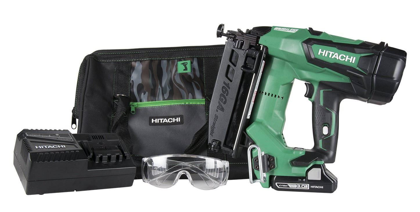 Hitachi NT1865DM 2-1/2'' 18-Volt Cordless Brushless Lithium Ion 16 Gauge Straight Finish Nailer with 1 Battery (Lifetime Tool Warranty)