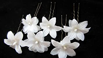 Amazon small white flower cluster flower hair pins beauty small white flower cluster flower hair pins mightylinksfo