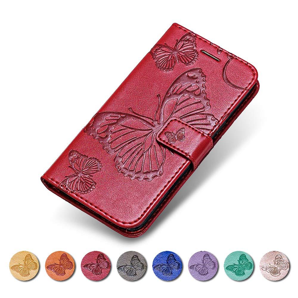 Coque Sony Xperia XZ/XZs, KKEIKO Etui en Cuir pour Sony Xperia XZ/XZs, Housse Portefeuille en Cuir avec Motif Papillon Flip Case pour Sony Xperia XZ/XZs - Rouge