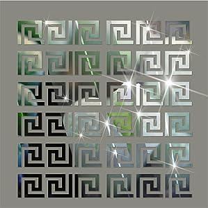 Acrylic Mirror Wall Stickers Geometric Greek Key Pattern Acrylic Plastic Mirror DIY Wall Art Decor 10pcs