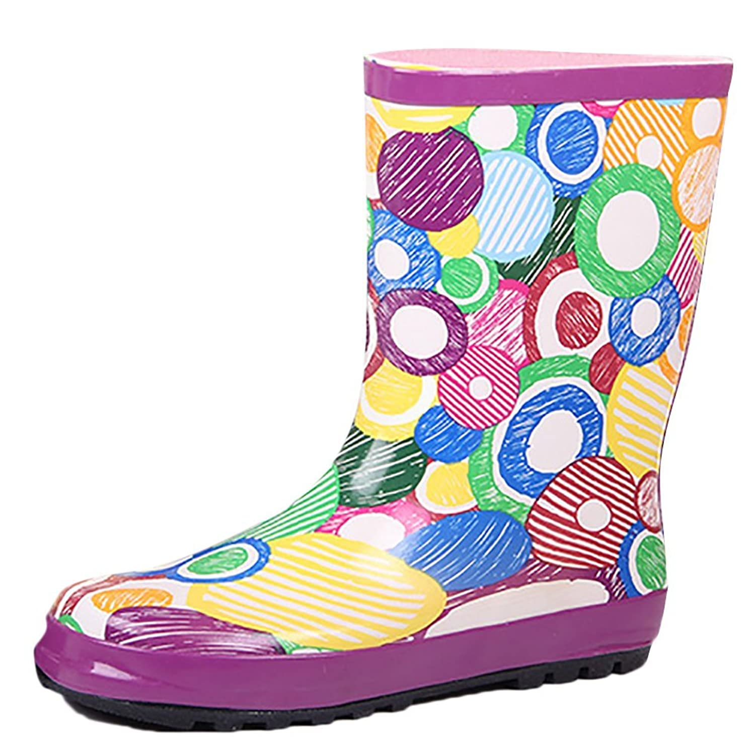 Womens Girls Fashion Wide Mid calf Waterproof Rain Boot Anti-Skidding
