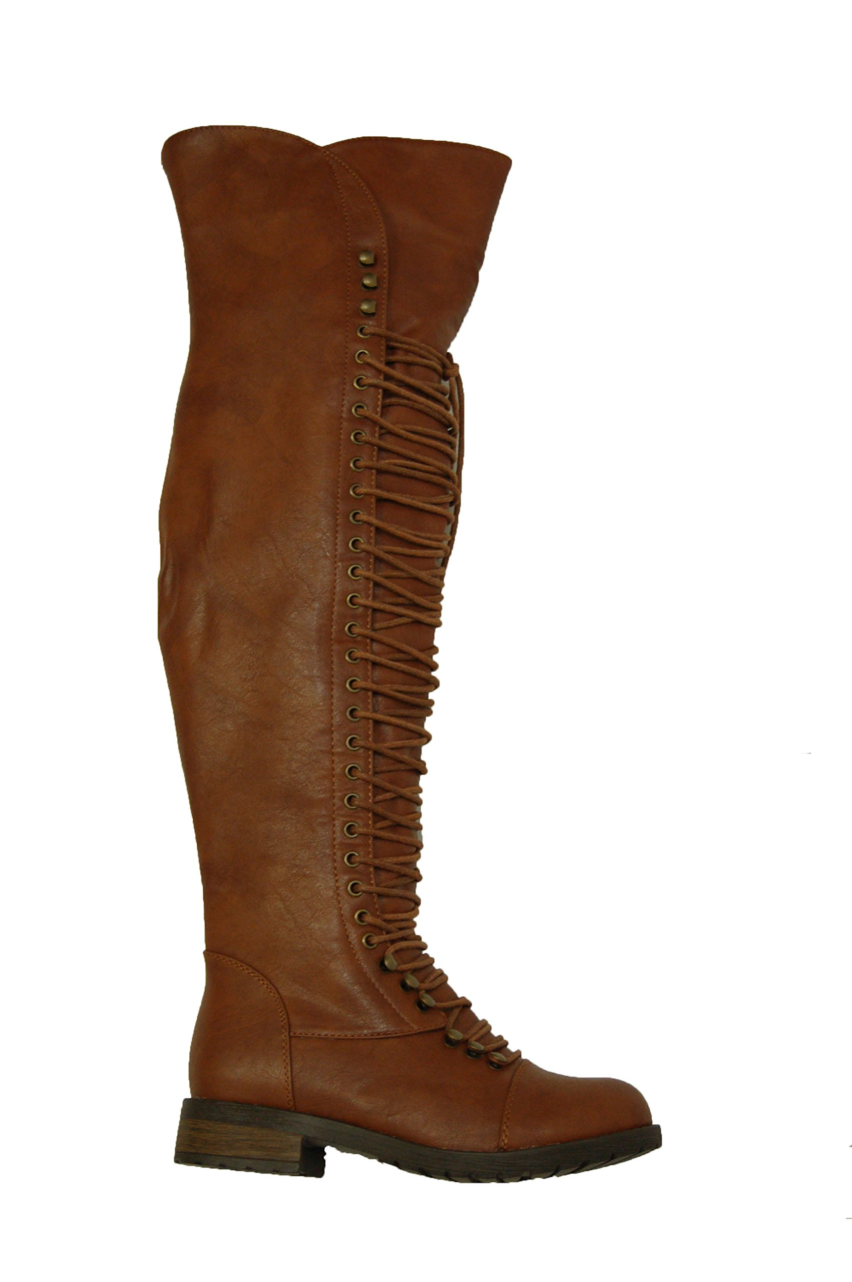 Herstyle Kristrrina Women Military Lace up Thigh High Combat Bootss Brown 10