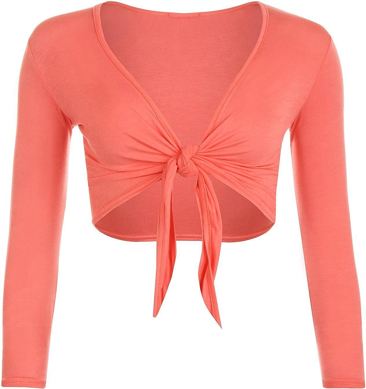 Womens Tie Knot Shrug Short Ladies Crop Cardigan Wrap Bolero Top Plus Size 8-22 Red