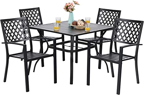PHI VILLA 5-Piece Metal Patio Outdoor Table and Chairs Dining Set