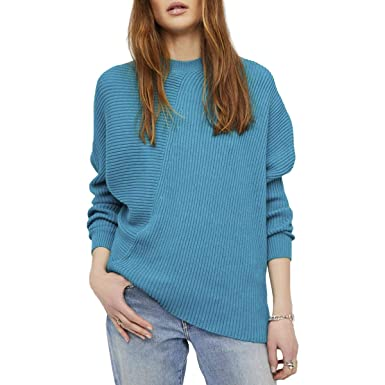 4a38e873ce8 Free People Womens Downtown Ribbed Knit Asymmetrical Pullover Sweater Green  XS