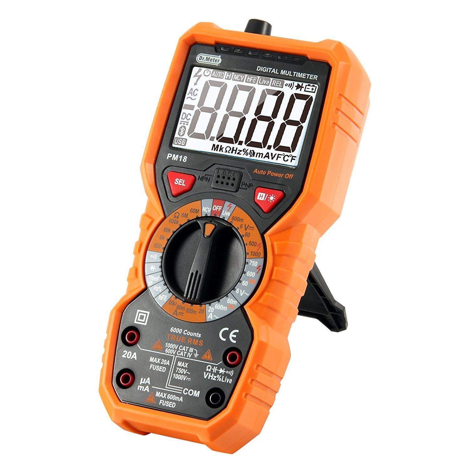 [Digital Multimeters] Dr.meter Digital Multimeter Trms 6000 Counts Tester Non-Contact Voltage Detection Multi Meter, PM18 by Dr.meter (Image #1)