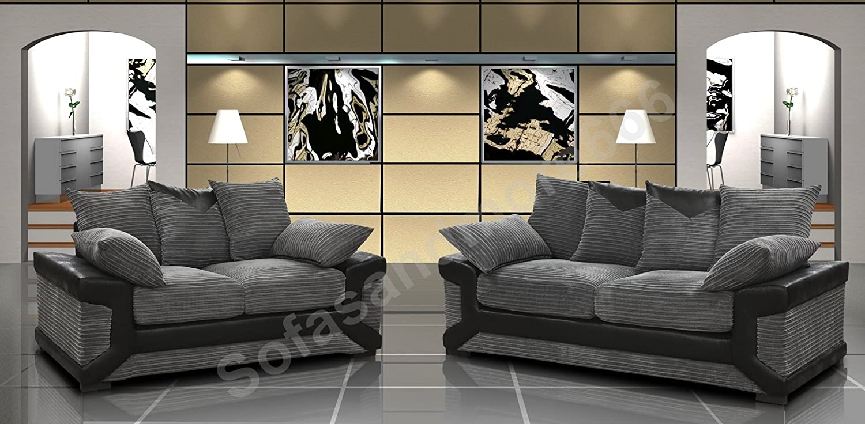 Dino Black U0026 Grey Fabric Jumbo Cord Sofa Settee Couch 3+2 Seater SUPERB  VALUE: Amazon.co.uk: Kitchen U0026 Home