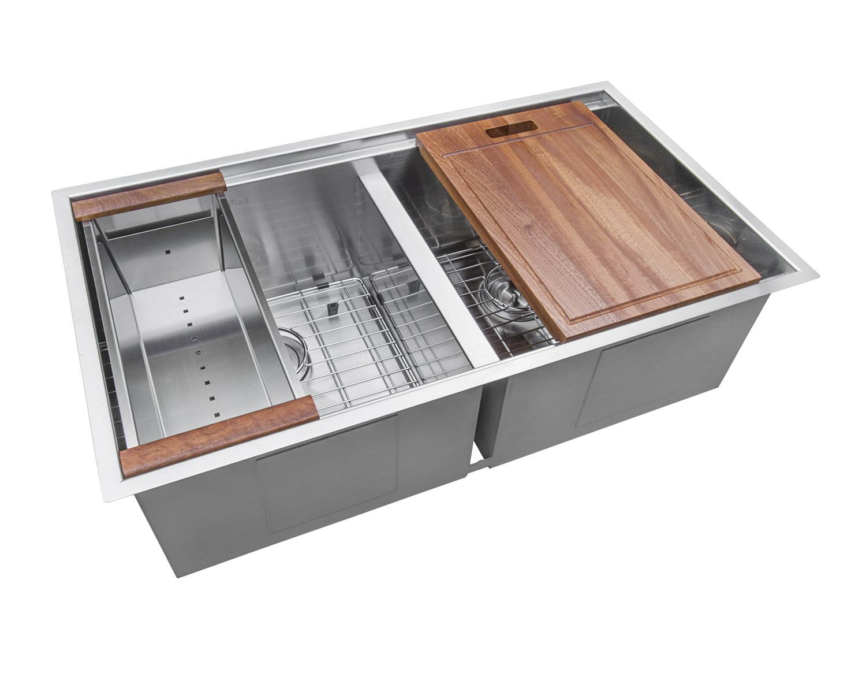 Ruvati 33-inch Workstation Ledge 50/50 Double Bowl Undermount 16 Gauge Stainless Steel Kitchen Sink - RVH8350 by Ruvati