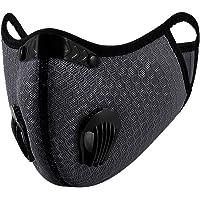 Susenstone - Bandanas faciales con válvula de respiración, reutilizables, lavables, a prueba de polvo, resistente al viento para exteriores,  Gris, Talla única