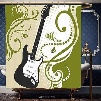 iPRINT 72 x 72 pulgada cortina de ducha música bajo eléctrico Guitarra figura con remolinos fondo con ilustración Olive verde blanco negro 10599 poliéster ...