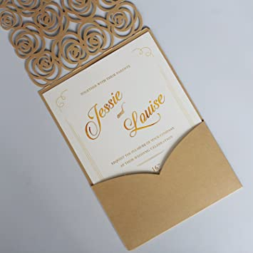 Amazon Com Picky Bride Gold Rose Wedding Invitations Customized