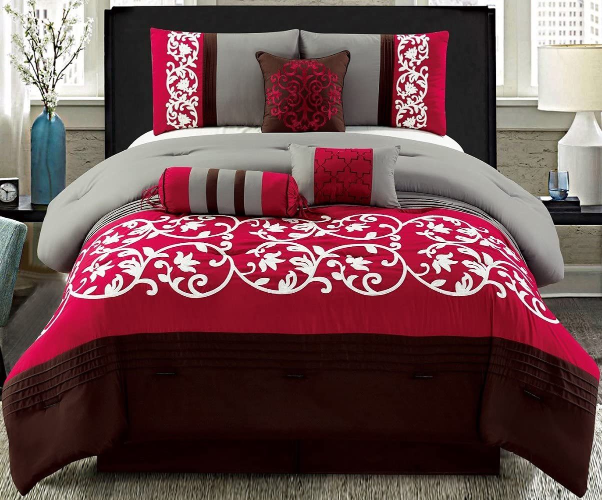 Luxury 7 PCS Embroidery Bedding Brown//White//Burgundy Comforter Set New.