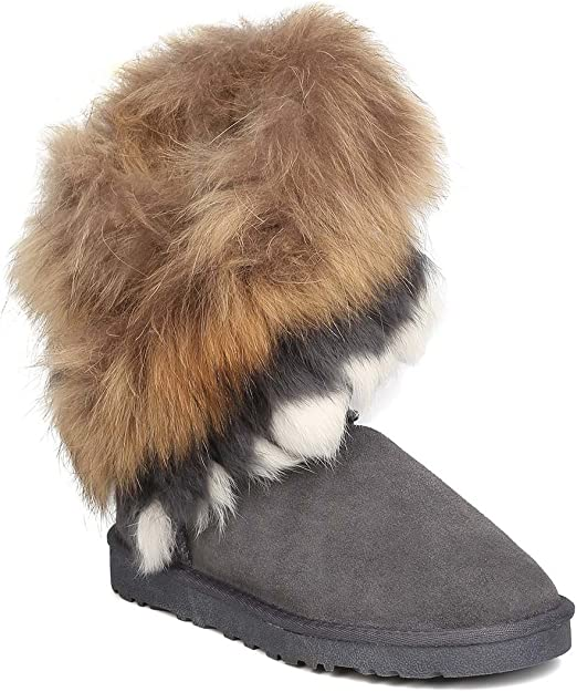   Women Genuine Suede and Fur Slanted Shaft