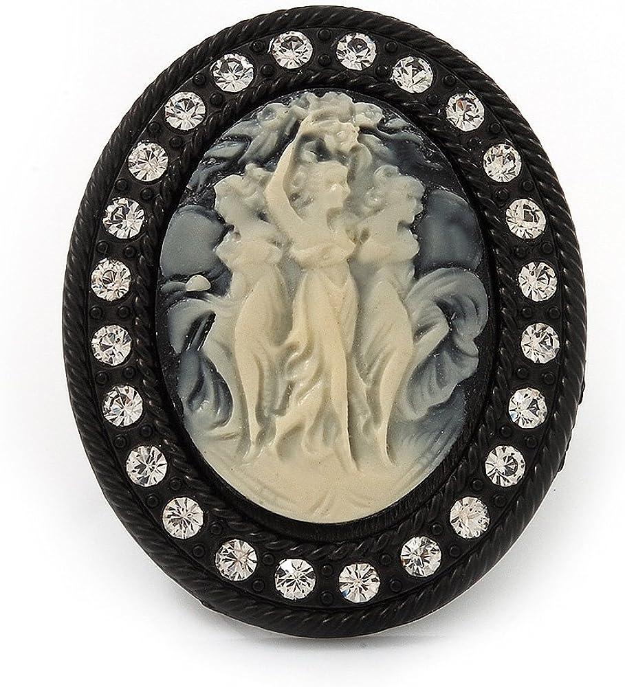Avalaya Anillo Grande de cóctel con ''camafeo de Damas'' con imitación de Perla en Metal Negro (Ajustable)