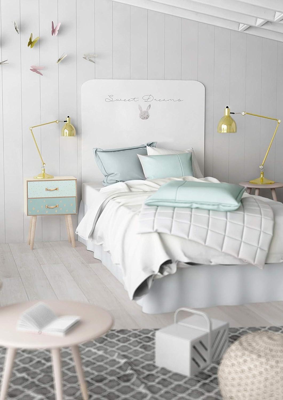Miroytengo Cabezal Infantil Decorado Conejito Color Blanco con impresi/ón Digital Dormitorio Juvenil 110x90x16 cm