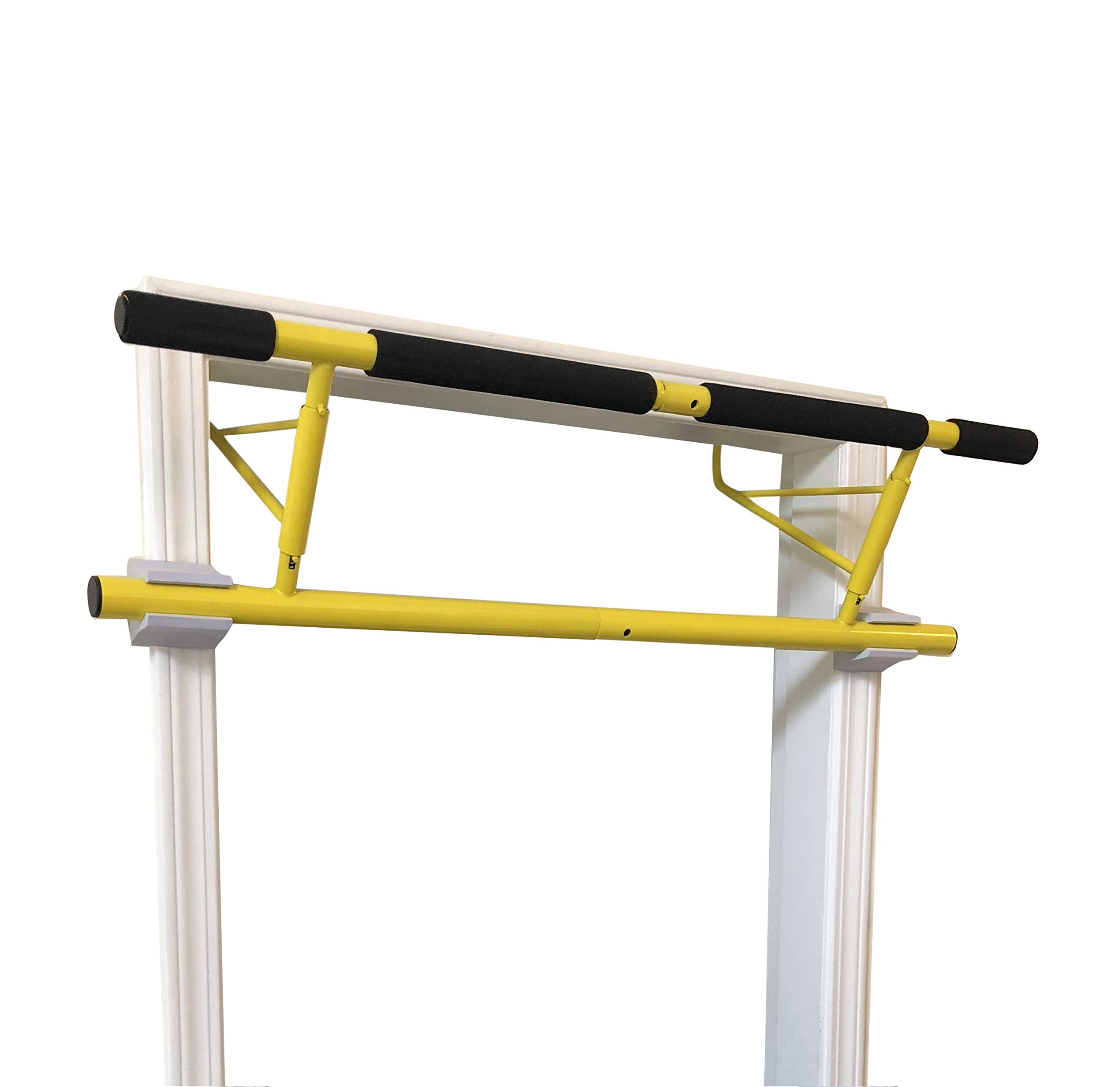 SHAMROCK TRIPLE GYM Pull Up Bar, No Assembly Required, Folds Flat & Comes Apart for Travel Or Storage, USA Shipping and Warranty (Yellow)