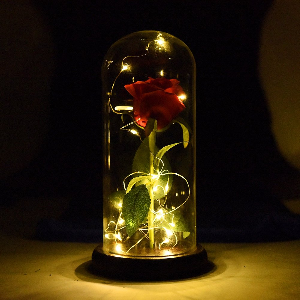 Balai Beauty and The Beast Rose Enchanted Red Rose with LED Light in Glass Dome - for Home Decor Holiday Party Wedding Anniversary - Graduation Gifts for Her Anniversary Wedding Birthday Gifts