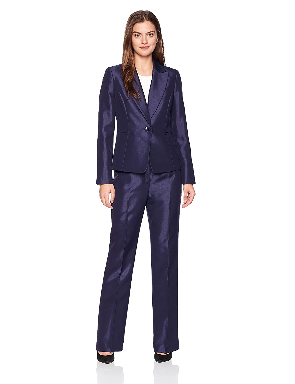 Le Suit Women's Shiny 1 Bttn Peak Lapel Pant 50037003