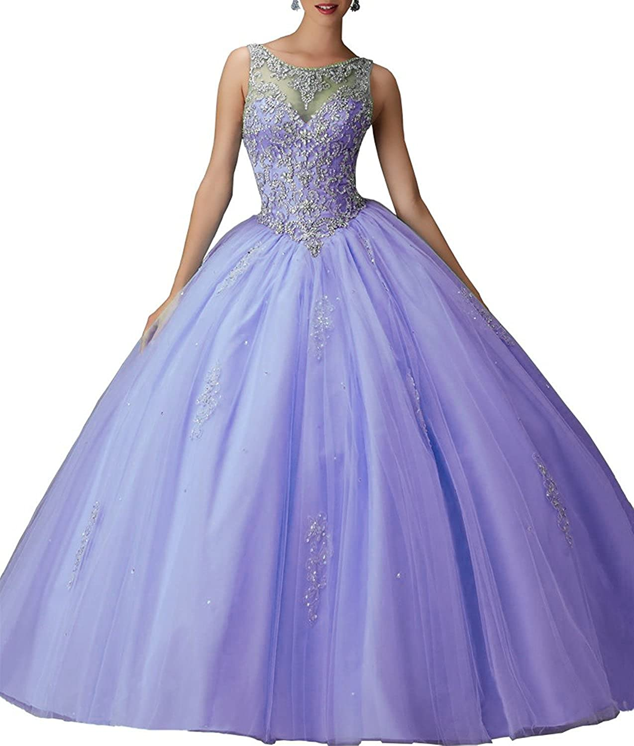 Lavender XSWPL Girls Sweet 16 Birthday Party Dress Ball Gown Beads Prom Quinceanera Dresses