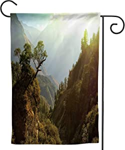 C COABALLA Enchanted Nepal Landscape,Welcome Garden Flag Double Sided Outdoor Decoration 28''x40''
