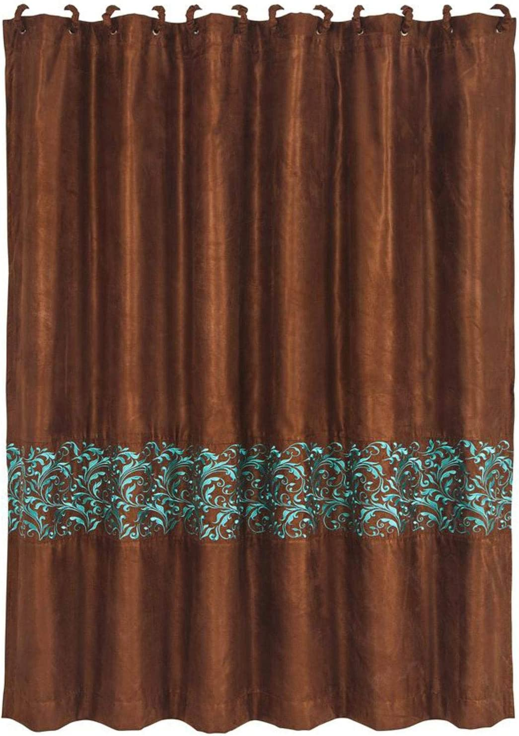"HiEnd Accents Wyatt Copper Taffeta-Style Curtain w/Turquoise Scrollwork [Includes 12 Matching Fabric-Covered Shower Rings], 72"" x 72"", Brown"