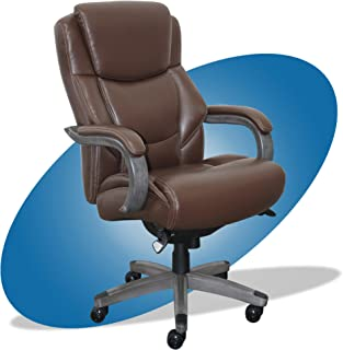 product image for La-Z-Boy Delano Big & Tall Executive Office Chair | High Back Ergonomic Lumbar Support, Bonded Leather, Brown with Weathered Gray Wood |