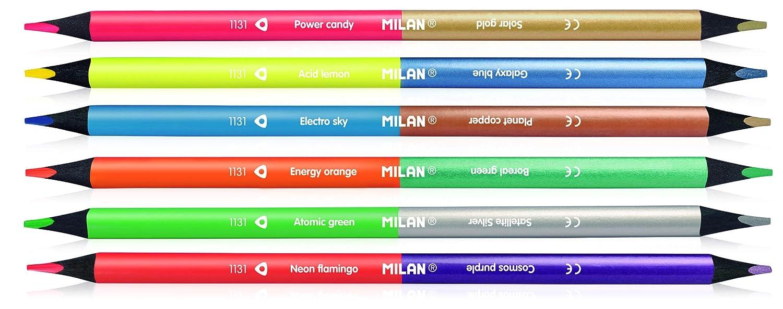 Confezione da 6 matite fluo e metallo bicolore Milan