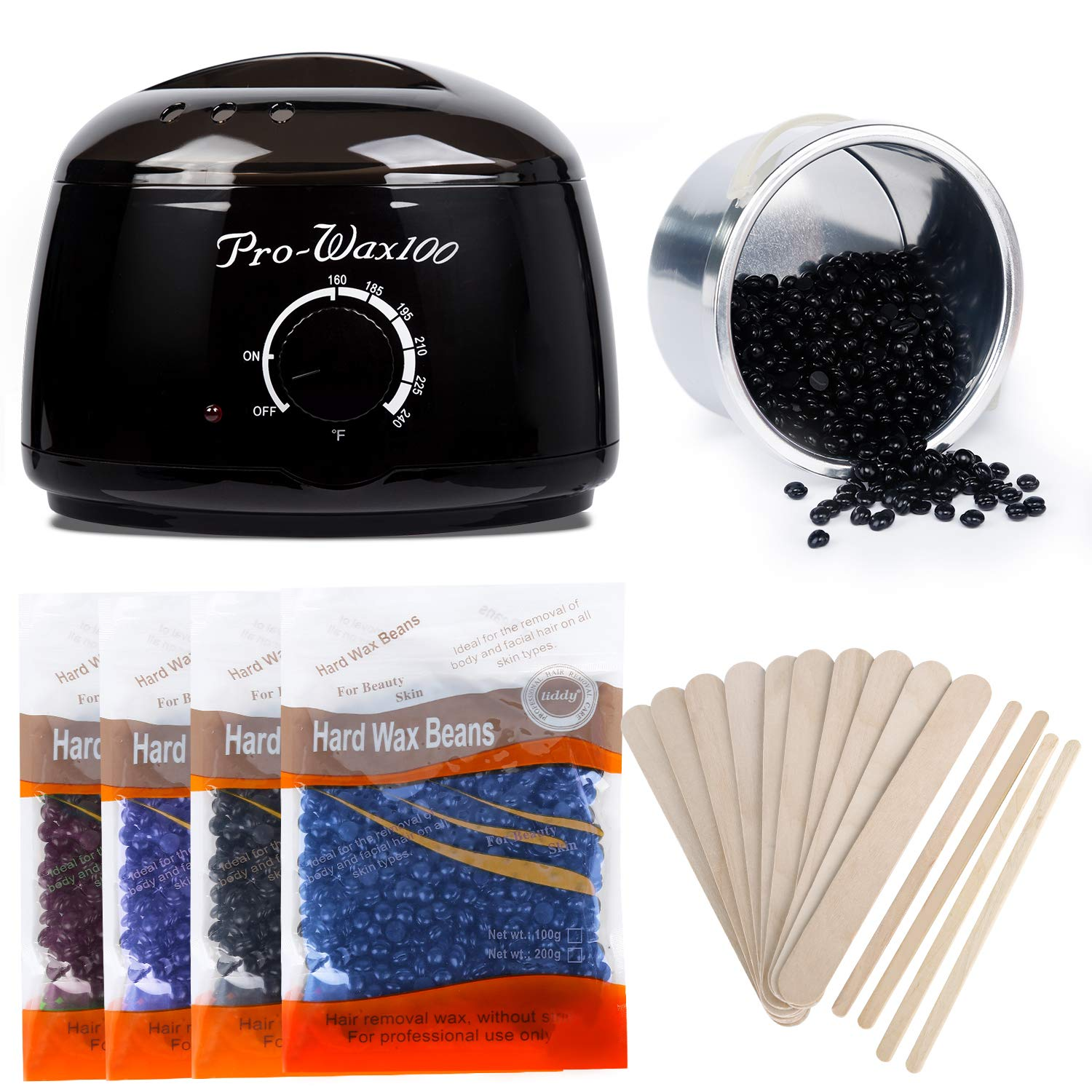 Wax Warmer Hair Removal Kit, Miss Gorgeous Home Waxing Kit with 4 Hard Wax Beans and 10+4 Applicator Sticks - Professional Waxing Kit for Women and Men, Body, Face, Bikini Hair Removal