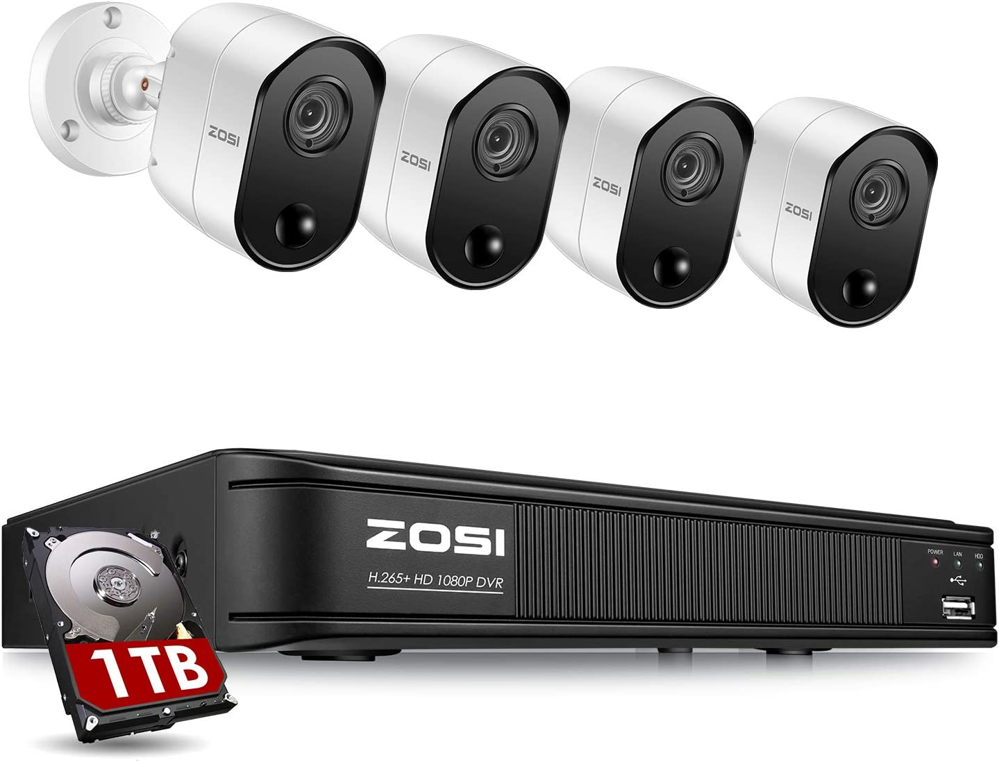 ZOSI 1080p 8 Channel Security Camera System for Home, H.265+ CCTV DVR with Hard Drive 1TB and 4 x 2MP Surveillance Bullet Camera Outdoor Indoor with PIR Motion Sensor,Day Night Vision,Remote Access