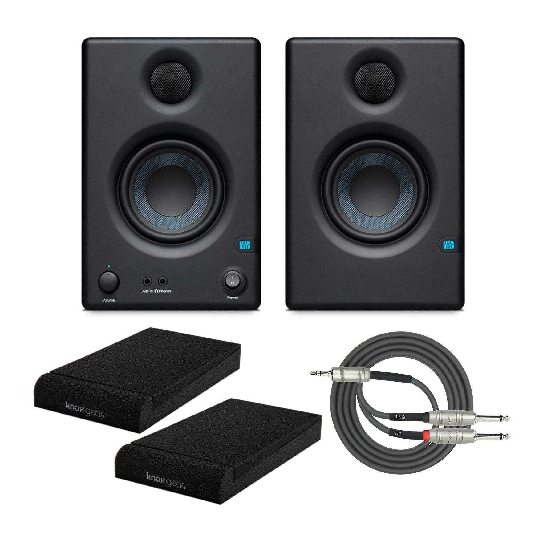 Presonus Eris E3.5 2-Way 3.5'' Near Field Studio Monitor (Pair) with Knox Isolation Pads and Stereo Breakout Cable Bundle