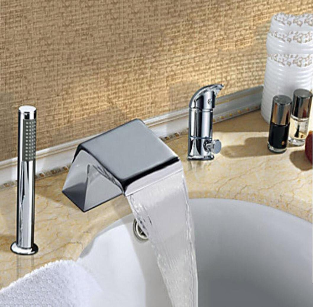 W&P Contemporary Art Deco/Retro Modern Widespread Waterfall with Ceramic Valve Single Handle Three Holes for Chrome , Bathroom Sink Faucet best