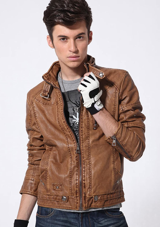 chouyatou Mens Vintage Stand Collar Pu Leather Jacket