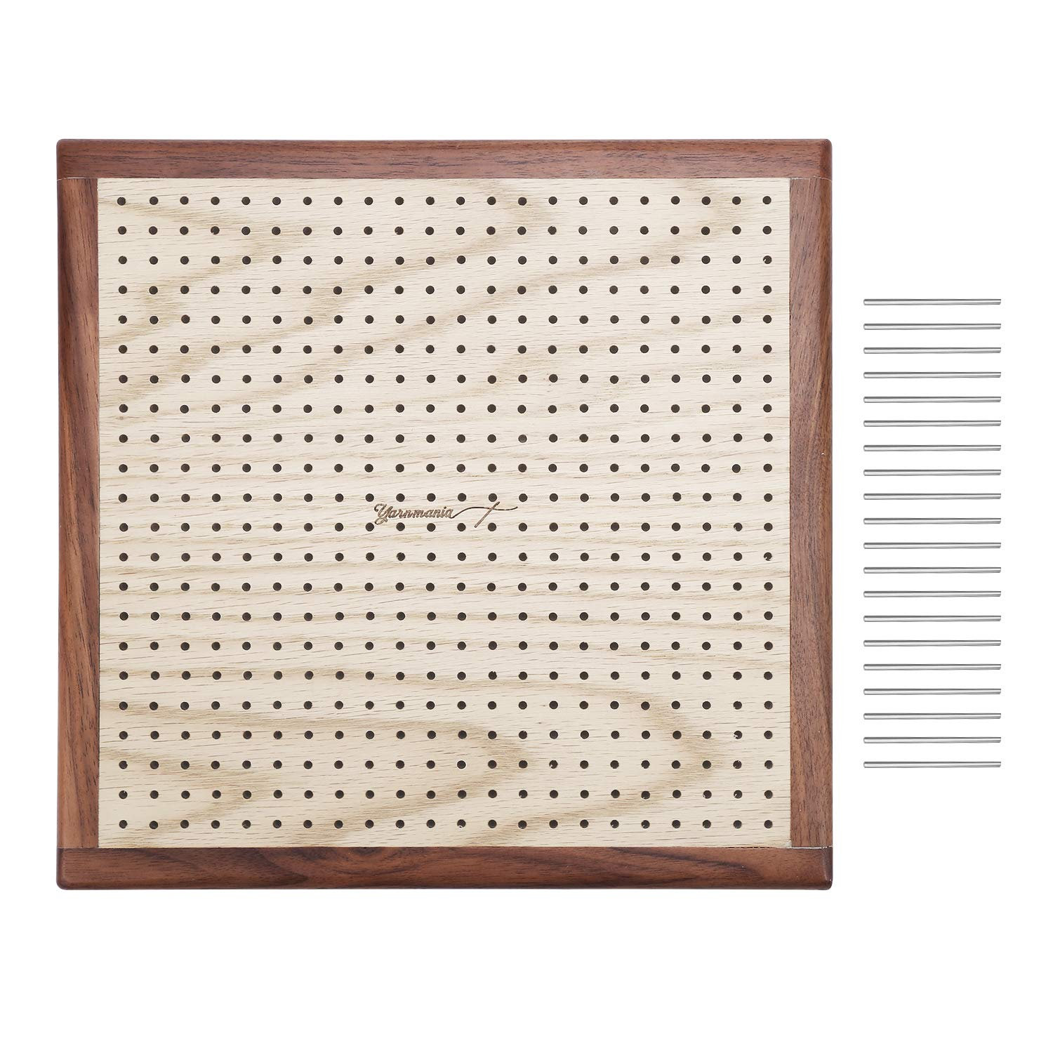Yarn Mania - Premium Blocking Boards for Knitting with Grids - Handcrafted Wood Crochet Blocking Board with 20 Stainless Steel Pins (13 inches)
