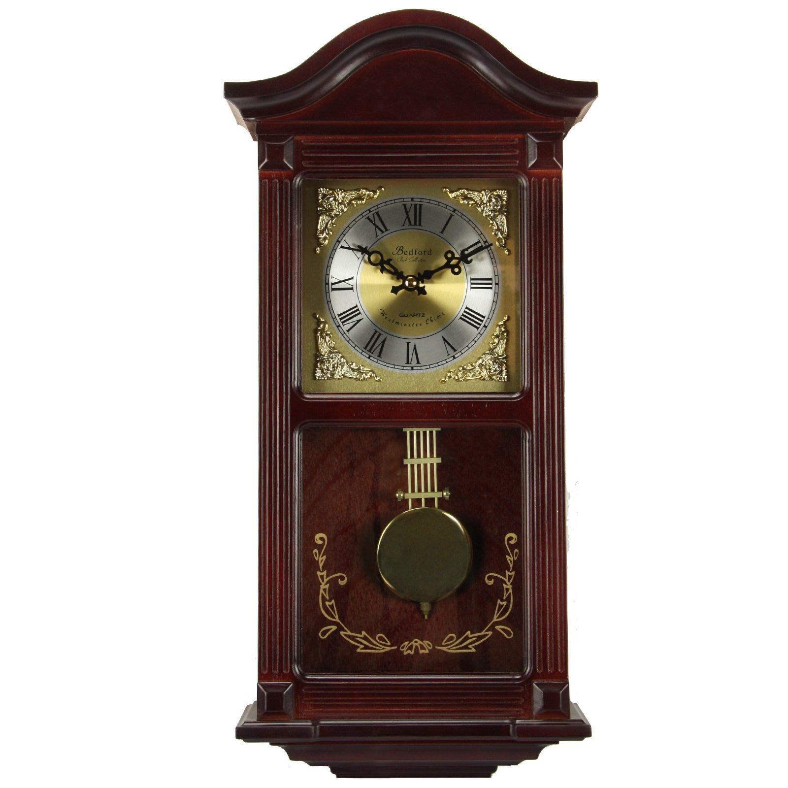 Bedford Clock Collection Mahogany Wall Clock with Pendulum and Chimes, Cherry Wood by Bedford Clock Collection