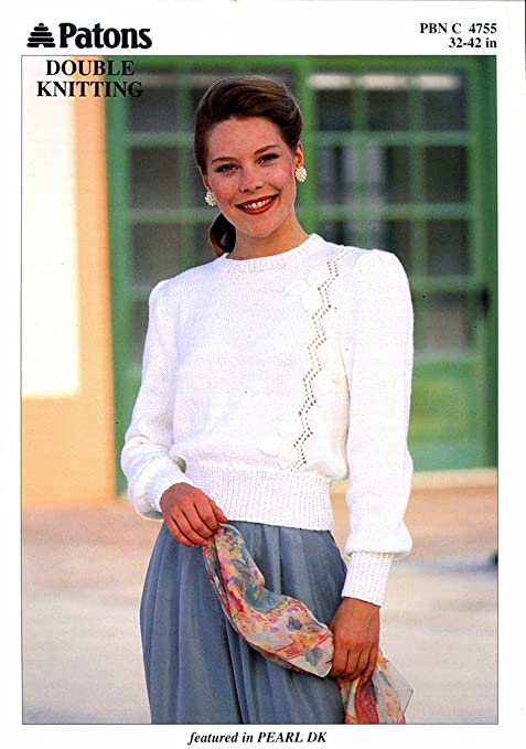 Knitting Pattern Lady\'s Leaf Lace Panel Sweater Pearl DK Patons 4755 ...