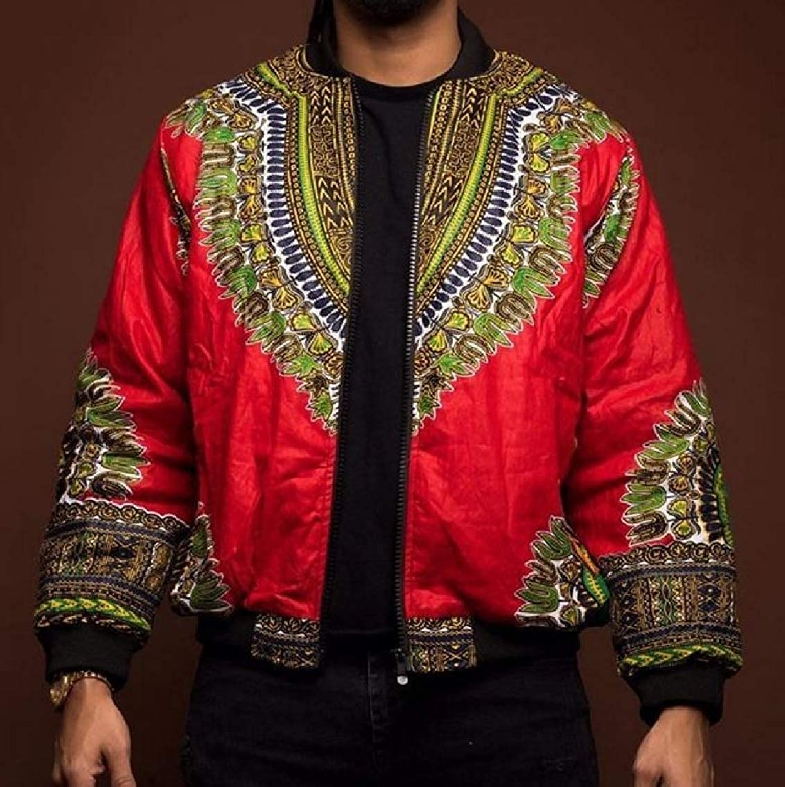 GodeyesMen Double Breasted Lapel Business African Style Blazer Jacket