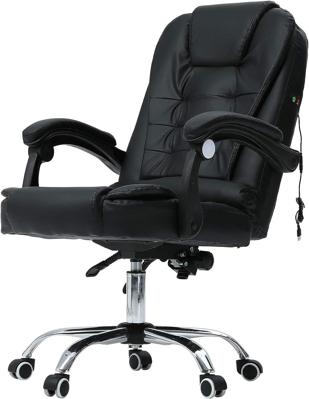 Sessel Büro Schwarz Drehstuhl Lordosenstütze Bürostuhl Massagestuhl Chefsessel
