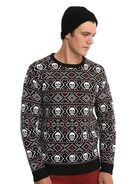 Hot Topic XXX Rude Black & Red Skull Fair Isle Sweater at Amazon ...