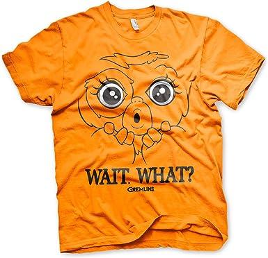 Gremlins Oficialmente Licenciado Wait. What? Camiseta para Hombre (Naranja): Amazon.es: Ropa y accesorios