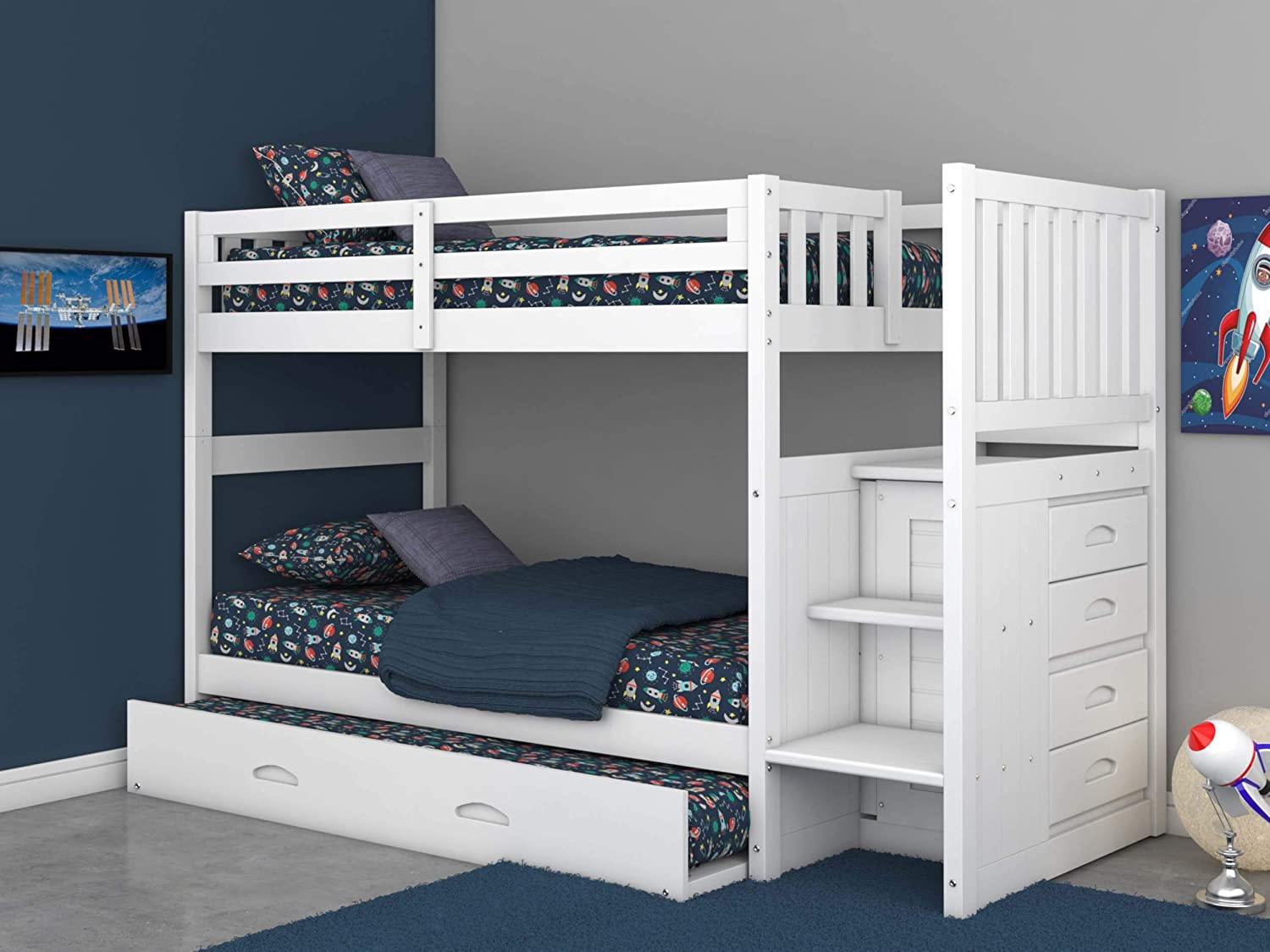 Discovery World Furniture Twin Over Twin Stair Stepper Bed with Trundle in White Finish